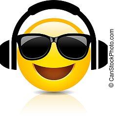 Cool emoji with headphones