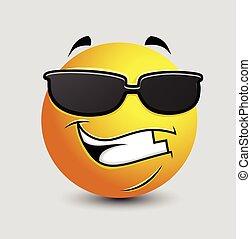 Cool Emoticon with Black Sunglasses