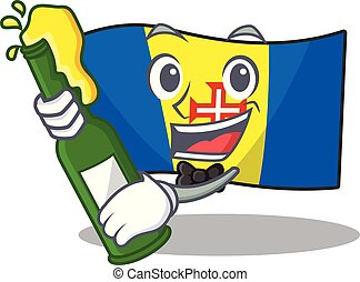Cool flag madeira with beer mascot cartoon style