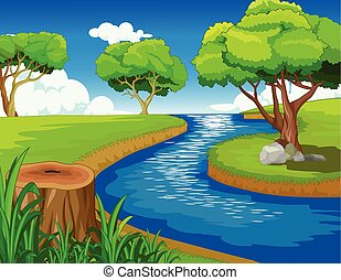 Cool Forest With River Cartoon