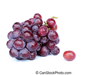 Cool fresh Bunch of red grapes on white backgrounds, Place for your text