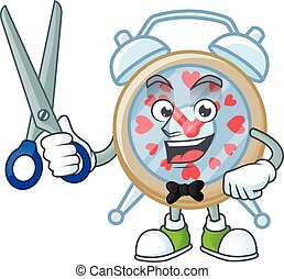 Cool friendly barber clock love cartoon character style