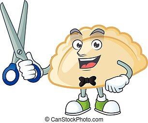 Cool friendly barber pierogi cartoon character style. Vector illustration