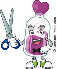 Cool friendly barber purple potion cartoon character style