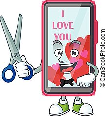 Cool friendly barber smartphone love cartoon character style