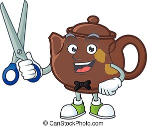 Cool friendly barber teapot cartoon character style