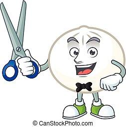 Cool friendly barber white hoppang cartoon character style