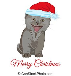 Cool funny little kitten in Santa hat vector flat illustration