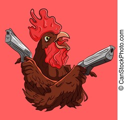 Cool gangsta rooster holding two guns in his hands...