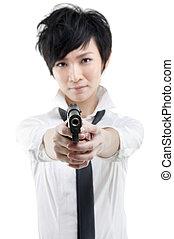 Cool girl with a gun