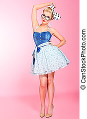 cool glasses - Beautiful young woman with pin-up make-up and...