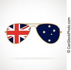 Cool gold rim frames Aviator Sunglasses with Australian Aussie flag in lenses vector