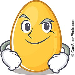 Cool golden egg mascot character with Smirking face