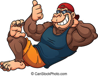 Cool cartoon gorilla relaxing. Vector clip art illustration with simple gradients. All in a single layer.