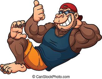 Cool gorilla - Cool cartoon gorilla relaxing. Vector clip...