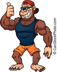 Cool cartoon gorilla with thumbs up. Vector clip art illustration with simple gradients. All in a single layer.