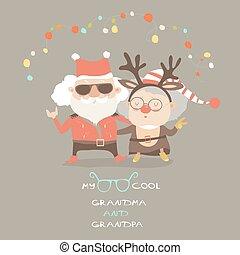Cool grandma with grandpa as santa claus and reindeer