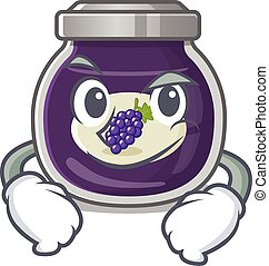 Cool grape jam mascot character with Smirking face