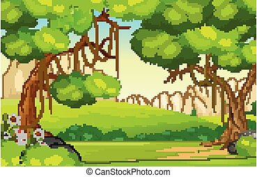 Cool Grass Field Hill Landscape View With Trees Cartoon