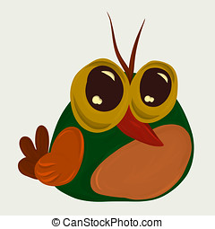 Cool green bird with big eyes