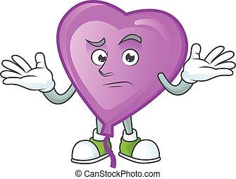 Cool Grinning of purple love balloon mascot cartoon style