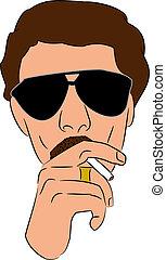 Cool Guy Smoking vector