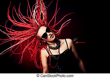cool hairstyle - Expressive girl rock singer with great red...