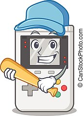 Cool handheld game Scroll cartoon character design with baseball