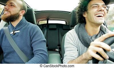 cool happy men dancing driving car