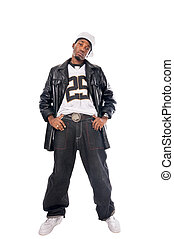 Cool hip-hop young man on white - Cool hip-hop youngster ...