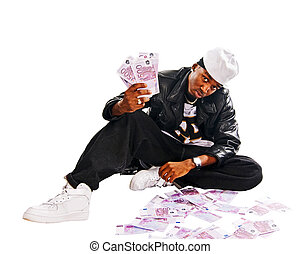Cool hip-hop young man on white