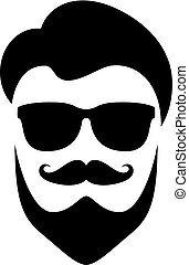 Cool hipster face vector illustration