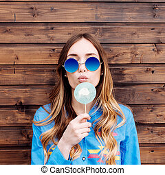 Cool hipster student woman wearing eyewear glasses