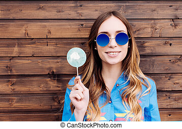 Cool hipster student woman wearing eyewear glasses