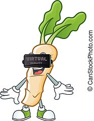 cool horseradish character with Virtual reality headset. Vector illustration