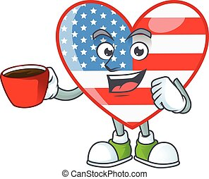 Cool independence day love cartoon character with a cup of coffee