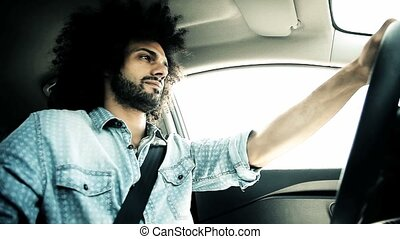 Cool italian man driving car