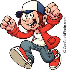 Cool cartoon kid. Vector clip art illustration with simple gradients. All in a single layer.