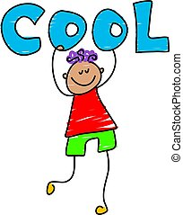 cool kid - little boy holding up the word COOL