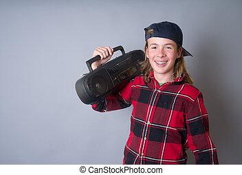 Cool kid with boom box