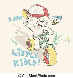 Cool little bear in cap on bicycle cartoon hand drawn.