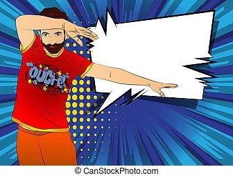 Cool man dancing. Enjoying music in the disco