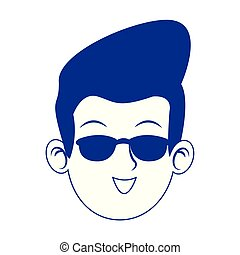 cool man face with sunglasses icon