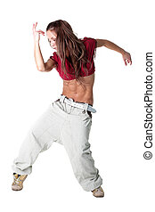 cool modern woman dancer isolated on white