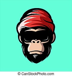 cool monkey with glasses