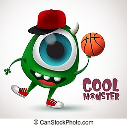 Cool monster basketball character vector design. Basketball player monster creature.