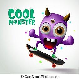 Cool monster skater character vector design. Skater cool monster character creature playing .