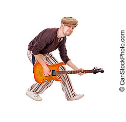 Cool musician on white