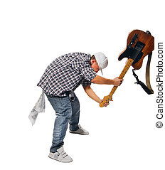 Cool musician with guitar on white