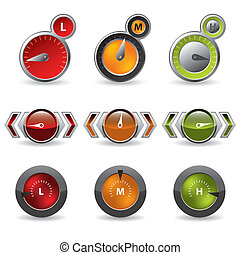 Cool new download speedometers showing speed on white...
